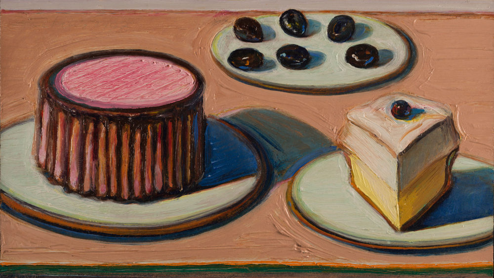 Wayne Thiebaud, For Nan (Cake, Pie Slice, and Olives), 1997/2001