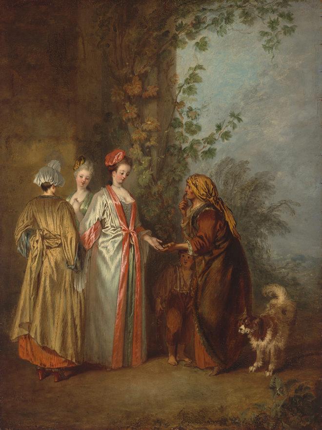 Jean-Antoine Watteau, The Fortune Teller, ca. 1710