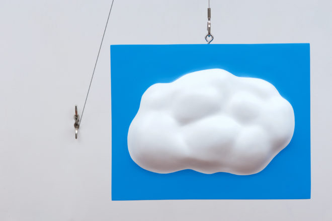 John Baldessari, Lead Cloud, 2017, painted lead with aluminum core, stainless steel hardware, 16 1/2 x 22 x 5 inches. Edition of 25 Courtesy of John Baldessari and Beyer Projects / © John Baldessari