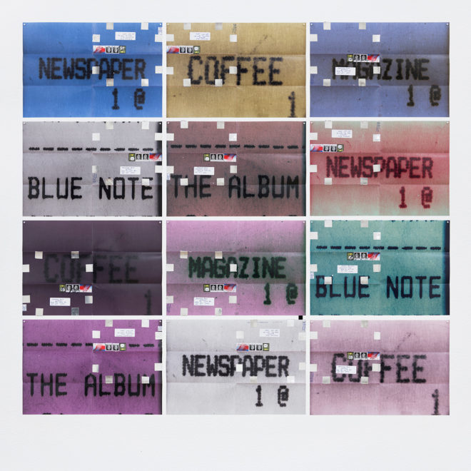 Moyra Davey Newspaper, Coffee (Receipts) II, 2015-16 12 C-prints, tape, postage, ink 12 x 18 inches, each; 49 x 55 inches, overall Courtesy of the artist and Janice Guy, New York