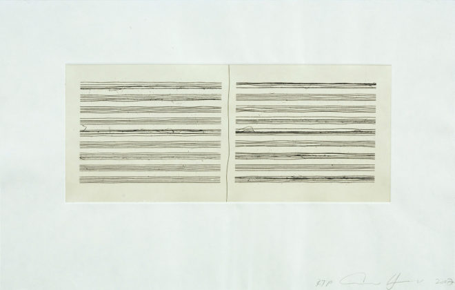 Ann Hamilton, script r, 2008, 1-color etching with chine-collé, 12 ½ x 19 ½ inches. Edition of 35 © 2008 Ann Hamilton and Gemini G.E.L. LLC