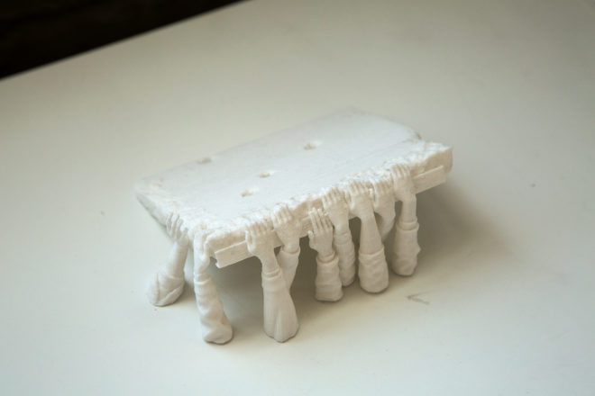 "Hank Willis Thomas Untitled prototype from ""Punctum"" series, 2014 Plaster Approx. 2 x 5 x 4 inches Courtesy of the artist / Photo: Nick Romano"