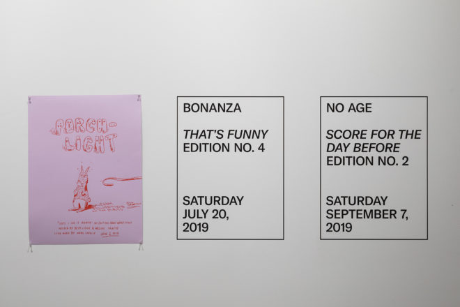 Jonn Herschend, Will Rogan, Posters for Performance as Edition, 2019, silkscreen on paper, 19 x 25 inches. Courtesy of the artists. Photo: Henrik Kam