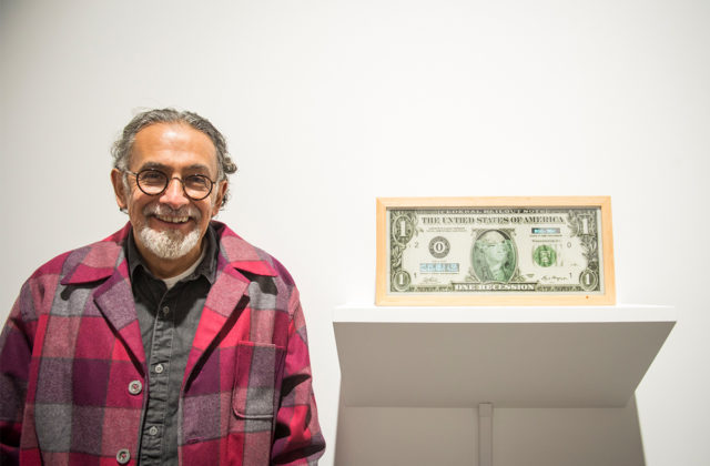 Enrique Chagoya (left) with his work One Recession Watchdog (Instant Update), 2019 at the Opening Reception for What is an edition, anyway?, May 21, 2019. Photo: Pat Mazzera