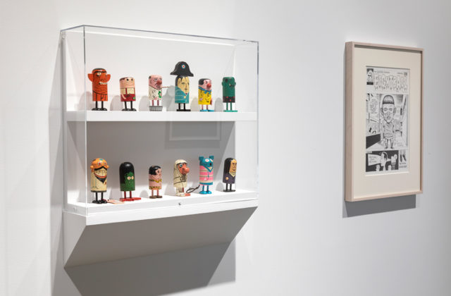 From left: Popsies figurines from the personal collection of Daniel Clowes; original cover drawing for Eightball #8, 1992. Photo: Henrik Kam