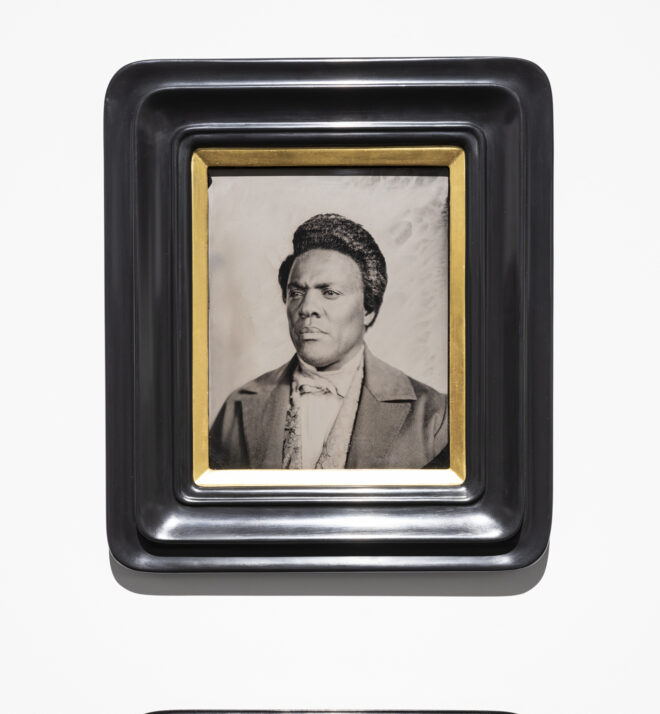 Isaac Julien Lyrics of Sunshine and Shadow (After Frederick Douglass II), 2019, Isaac Julien Wet-plate Collodion tintype from an original made by Rob Ball for Lessons of the Hour mounted on Tulipwood frame Collection of the artist