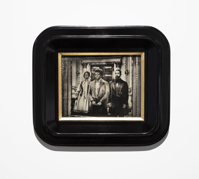 Isaac Julien Lyrics of Sunshine and Shadow (The Three Graces), 2020 Wet-plate collodion tintype mounted on tulipwood frame Courtesy of the artist, Jessica Silverman, San Francisco, and Victoria Miro, London/Venice