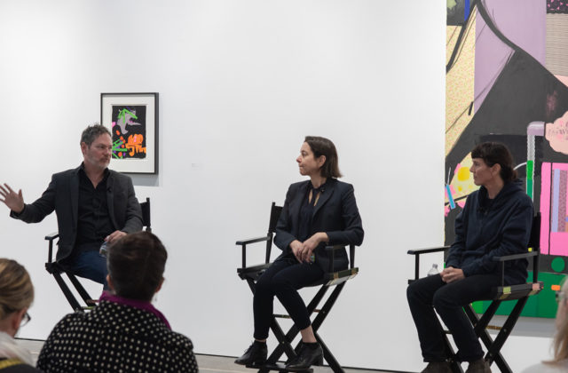 Kevin Moore (left) in conversation with Ellen Berkenblit and Sarah Braman, McEvoy Foundation for the Arts, San Francisco (February 9, 2019). Photo: Ryan Molnar