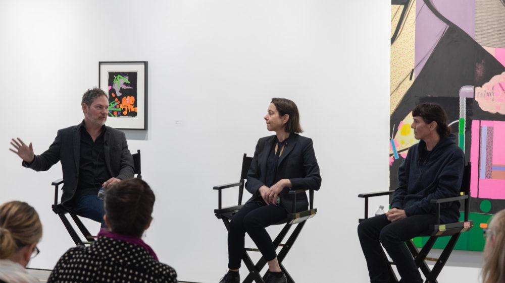 Kevin Moore (left) in conversation with Ellen Berkenblit and Sarah Braman, McEvoy Foundation for the Arts, San Francisco (February 9, 2019). Photo: Ryan Molnar
