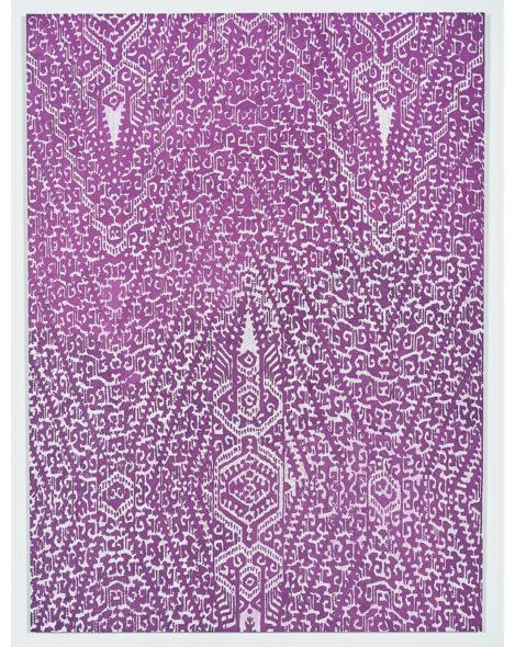 Charlene Tan Researching and Remembering T'nalak, Ube, 2019 Ube (purple yam) powder, manganese violet pigment, acrylic paint, giclee print, di-bond, aluminum 58 ¾ x 43 ¼ inches Courtesy the artist