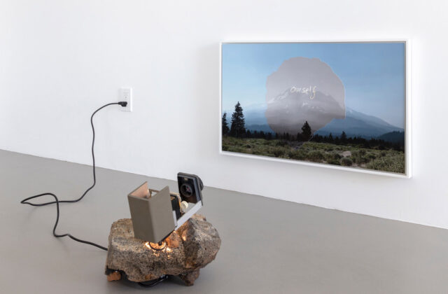 Richard T. Walker, Ourself, 2019, two archival pigment prints, slide projector, slide, modified rock, motion sensor. Dimensions variable overall; framed print: 18 x 30 in. Courtesy the artist and Fraenkel Gallery, San Francisco