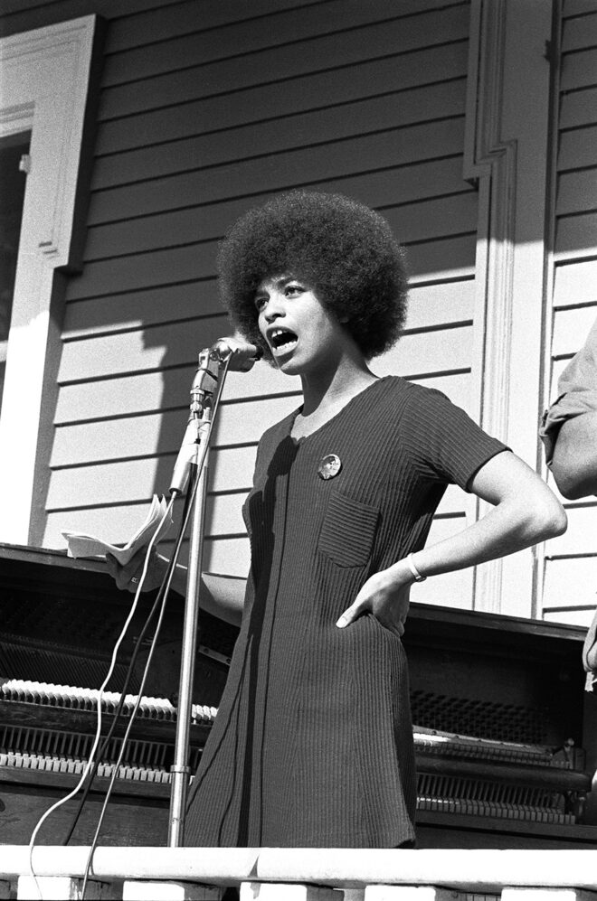 Stephen Shames Angela Davis, who was a Black Panther for six months, speaks at a Free Huey Rally in De Fremery Park, Oakland, California, November 12, 1969, 1969 Gelatin silver print McEvoy Family Collection