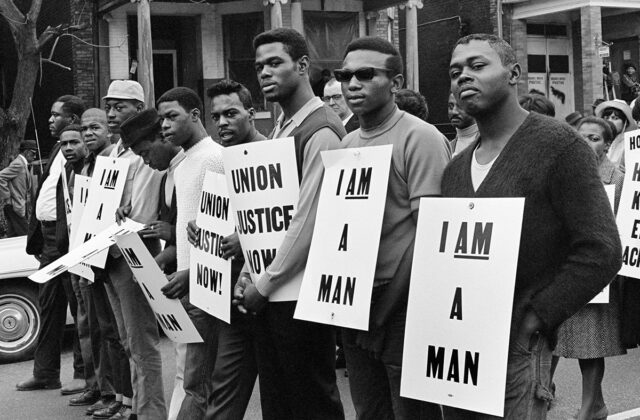 Builder Levy I am a Man/Union Justice Now, Memphis, Tennessee, 1968 Gold-toned gelatin silver print McEvoy Family Collection © Builder Levy. Courtesy of the artist and Arnika Dawkins Gallery, Atlanta.
