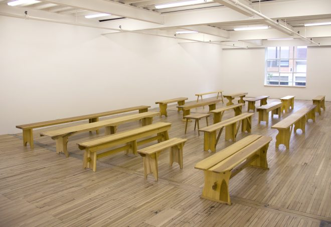 Francis Cape* Utopian Benches, 2011-12 Poplar 17 benches, installation dimensions variable Installation view Murray Guy, New York 2013