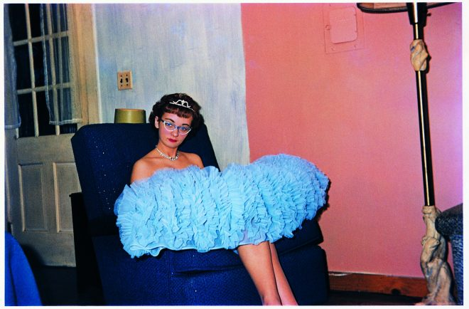 Guy Stricherz* Blue Prom Dress, Hamilton, Massachusetts, 1961 Richard G. Gill, photographer, from Guy Stricherz' Americans in Kodachrome, 1945-1965. © Guy Stricherz. Courtesy of ROSEGALLERY