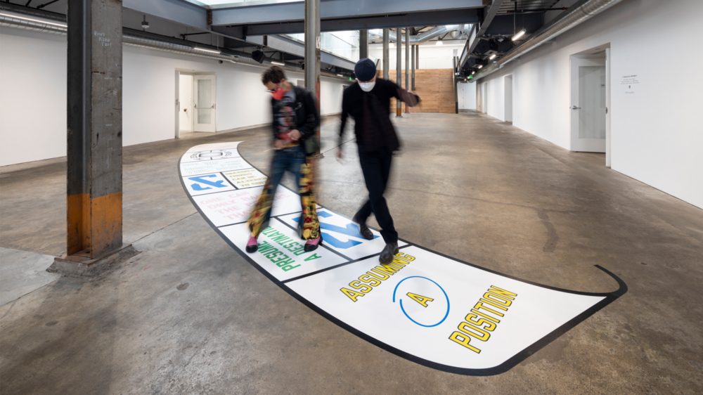 Installation view, Lawrence Weiner: OUT OF SIGHT at Minnesota Street Project, San Francisco (October 16, 2021 – January 22, 2022). Courtesy of the artist and McEvoy Foundation for the Arts, San Francisco / © Lawrence Weiner. Photo: Henrik Kam Photography.